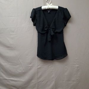H&M Black Bow Blouse Size-10